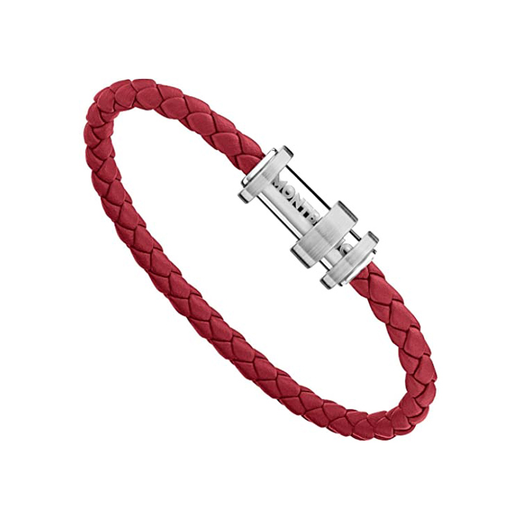 11888168 — Montblanc Bracelet, Steel Red, Leather, Red, 68